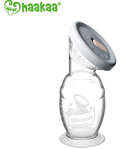 Haakaa Gen 2 Silicone Breast Pump with Suction Base and Leak-Proof Silicone Cap, 5 oz/150 ml, BPA PVC and Phthalate Free