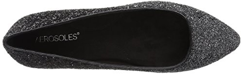 Aerosoles Womens Hey Girl Ballet Flat Black/Silver w4LS9