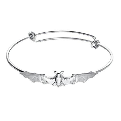 SENFAI Nickel Free,Vampire Bats Wiring Bracelet Adjustable Expandable Wire Bangles (Silver Color)