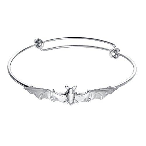 SENFAI Nickel Free,Vampire Bats Wiring Bracelet Adjustable Expandable Wire Bangles (Silver Color)]()