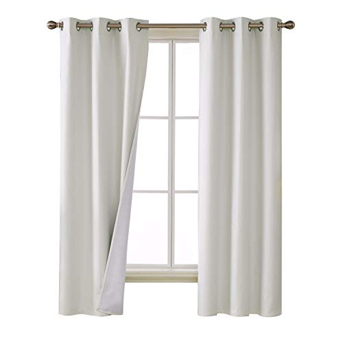 72 In Linen - Deconovo 100 Percent Blackout Curtains with 3 Pass Noise Reduction Curtain Thermal Insulated Coating Faux Linen Room Darkening Curtains for Kids Room 38 x 72 Inch Length Set of 2 Panels White