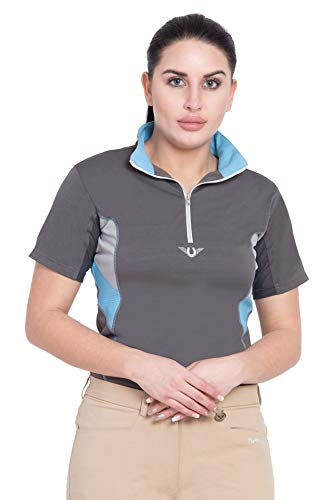 TuffRider Ladies Neon Ventilated Mock Zip Short Sleeve Polo Shirt   Equestrian Horse Riding Shirt  Color - Black, Size - Small