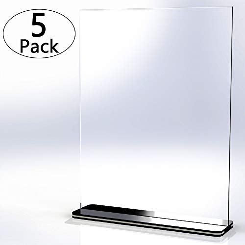 [5 Pack] 8.5 x 11 inch Office Table Sign Display Holder, Attom Tech T-Shape Black Base Portrait-Style Double-Sided Menu Dispaly, Slant Ad Photo Frame Brochure Holder, Clear Acrylic 8.5 x 11 inches