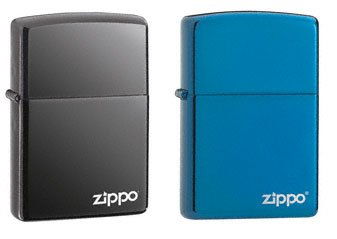 Blue Ice Flame Lighter (Zippo Lighter Set - Black Ice and Sapphire Blue with Name Logo Pack of 2)