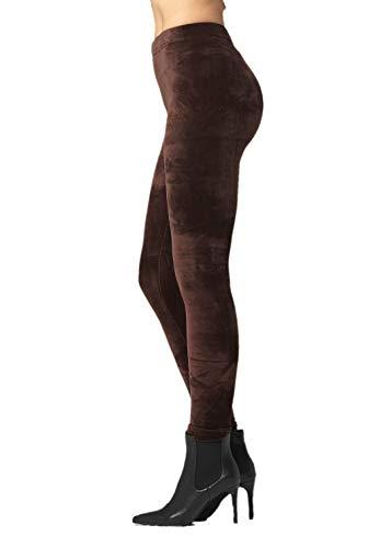 (Conceited Velour Velvet Leggings for Women - A236 - Brown - Large)