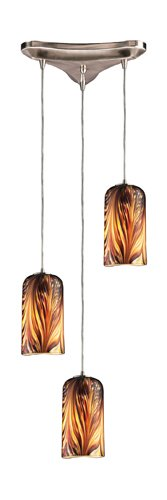 - Elk 544-3MS 3-Light Pendant in Satin Nickel and Molten Sunset Glass