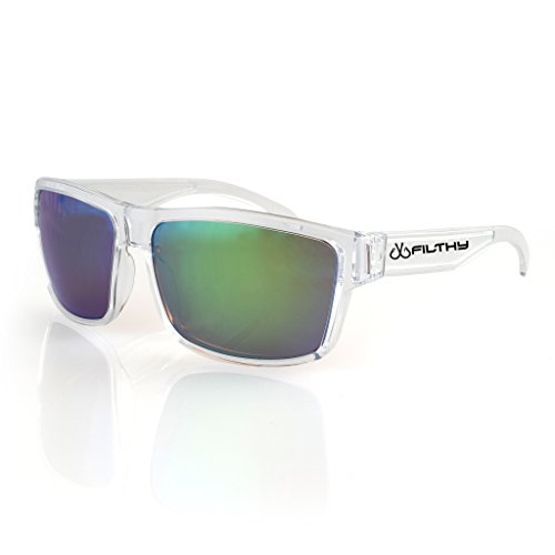 Filthy Anglers Ames Mens Fishing Sunglasses, Clear Frame, Brown Polarized w/ Green Mirror - Sunglasses Yuma