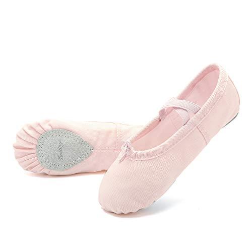 CIOR Girls Ballet Slippers Canvas Ballet Shoes Dance Shoes Yoga Shoes Flats (Toddler/Little Kid/Big Kid/Women/Boy) Pink ()