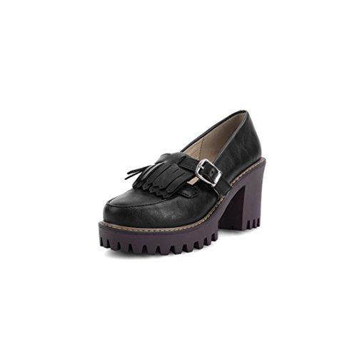 Redonda Sandalette Directo dede Mujer Flecos Con Y Duro Black Zapatos Altos Tacones Zapatos De Cabeza rXrwCOxq