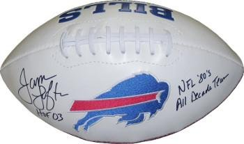 James Lofton Signed Buffalo Bills (James Lofton signed Buffalo Bills White Logo Football HOF 03 & NFL 80's All Decade Team - Autographed Footballs)