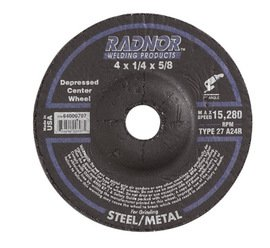 Radnor Wheel Grinding 4''X 1/4''X 5/8'' 27 A24R Aluminum Oxide 15280 -1 Box of 20