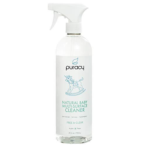 Puracy Natural Baby All Purpose Cleaner, Streak-Free Household Multi-Surface Spray, Nontoxic, Free & Clear, 25 Ounce