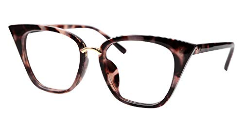 SOOLALA Womens Quality Readers Stylish Oversized Cat Eye Custom Reading Glasses, GrayLeopard, ()