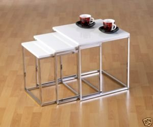 Charisma White Gloss/Chrome Nest of 3 Tables