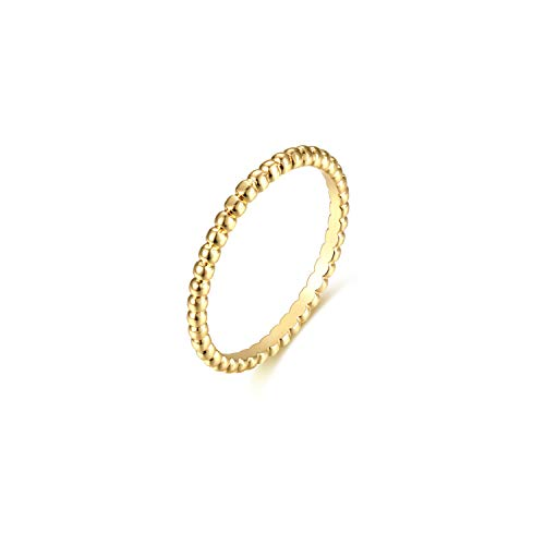 Valloey 14K Gold Thin Beaded Rings, Full Bead Sterling Twisted Rope Wedding Band Stacking Ring for Women(Ring-Bead-5) (Ring For Rope)
