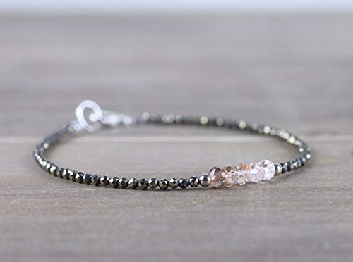 Pyrite Bracelet with Ombre Imperial Topaz Gemstones in Sterling Silver or Rose Gold Filled, Delicate Natural Brown Topaz Crystal Jewelry by LadoNarayani ()