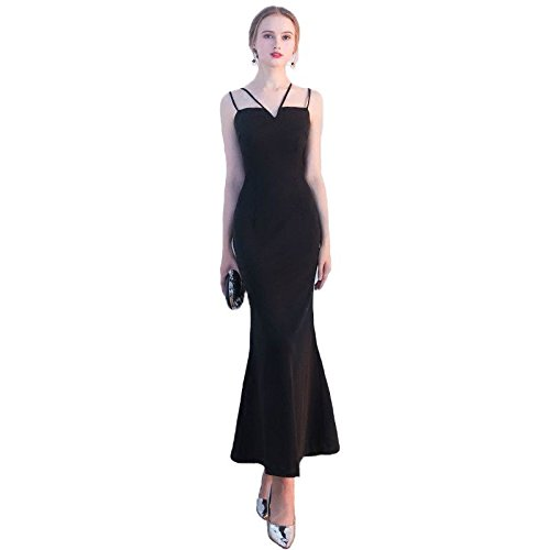 Sun En Goddess Soirée De V Parti Black Sangle Prom Robe Style 12 Thé Longueur Spaghetti Robe Robe Col De Y Noir 6 rrCdwqnxF7
