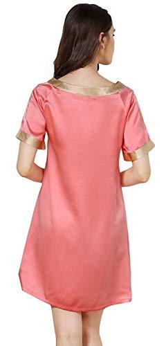 Dormir Suave Vintage Camisón Mujer Sleepwear Cortos Cuello Vestido Verano De Watermelonred Cómodo Redondo Corta Silk Bordados Modernas Casual Elegantes Manga Camisones Moda H0q4g