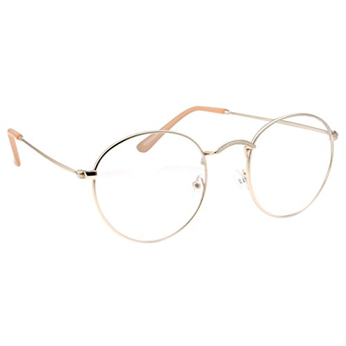 Retro Round Clear Lens Glasses Metal Frame - Gold