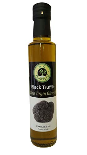 M.G. PAPPAS Black Truffle Olive Oil Infused Extra Virgin Cold Pressed Fresh Italian EVOO Salad Dressing Cooking Garlic Flavor Healthy Food Aroma Diet Gourmet Condiment Vegetarian 8.45 fl. Oz 250 ml