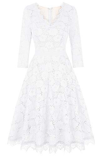Twinklady Women's Vintage Full Lace Bell Sleeve Big Swing A-Line Dress (White1, L)