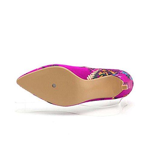 Alto Color en 35 Tamaño Tacón la Verano Boca Tacón Mujeres 40 para de Tamaño Flowers Alto Nuevo Primavera Bordados y Zapatos Zapatos 37 de Tacón Alto wBq8RRFv