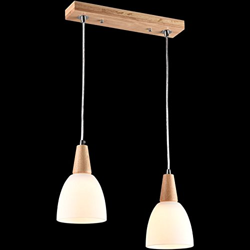 Cttsb LED modern simple Nordic Japanese solid wood meal pendant light double wood field lights for Restaurant Bar Corridor Bedroom Corridor