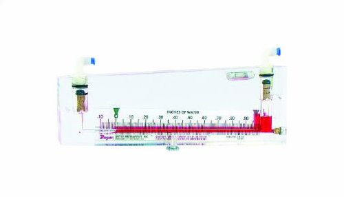 "Dwyer Durablock Series 250-AF Inclined Manometer Air Filter Gauge, Range 0.20-0-3.0""WC, 5-1/2"" Inclined Scale"