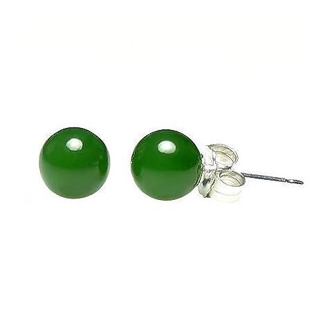 Trustmark 14K White Gold 6mm Natural Nephrite Green Jade Ball Stud Post Earrings - 14k Oro Jade Stud