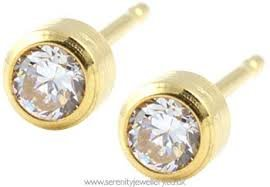 192c4569f New Studex System 75 Personal Piercer 3 mm Cubic Zirconia Gold Bezel  Includes After Ear Care