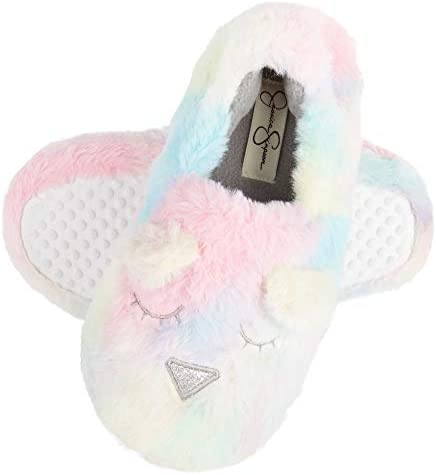 Jessica Simpson Girls Cute and Cozy Plush Slip on House Slippers With Memory Foam