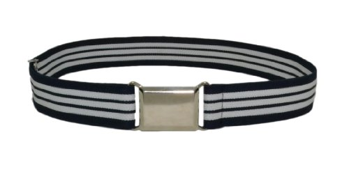 Kids Elastic Adjustable Belt With Silver Buckle - Navy and White Stripe