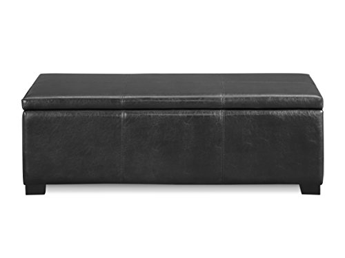 (Urban Home Furniture Storage Bench Ottoman, Black Faux Leather)