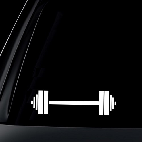 Dumbbells Barbells Gym Fitness - Vinyl Decal - Car Truck Laptop - SELECT SIZE
