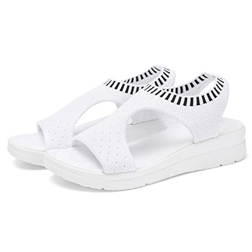 RAINED-Women Wedges Sandals Breathable Comfort Hollow Out Casual Peek-A-Boo Cork Wedge Boho-Chic Platform Sandal White