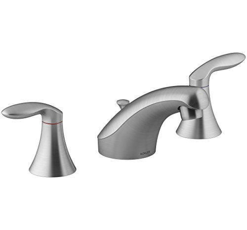 KOHLER K-15261-4RA-G Coralais Widespread Bathroom Sink Faucet with Lever Handles, Pop-Up Drain & Lift Rod, Brushed Chrome (Coralais 1 Handle)
