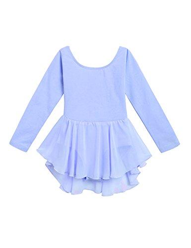 Arshiner Kids Girls Classic Long Sleeve Leotard Dance Ballet Dress, Sky Blue, 120(Age for 3-4Y) ()