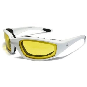 Motorcycle Yellow Riding Glasses Sunglasses with Foam and White Frame Plus Carry Bag
