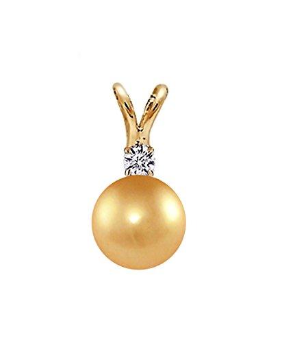 Pendentif Perle de culture de Mer du sud de qualité AAA Doré 14K or jaune avec diamant