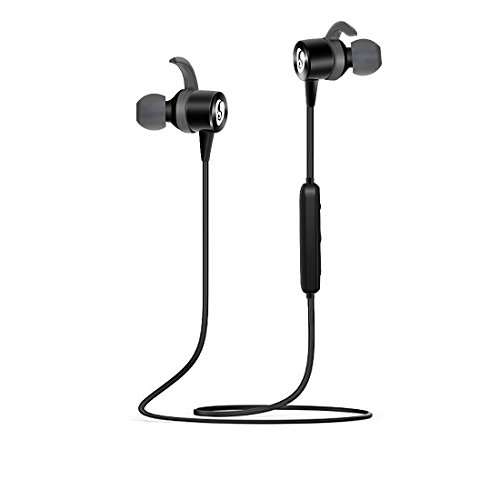 Kimitech Bluetooth Headphones Wireless 4.1 Magnetic Earbuds Lightweight Stereo Earbuds with Magnetic Connection Sweatproof Headset Built-in Mic for Sports Running or Gym Workou