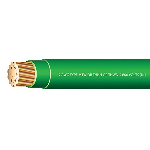 2 AWG Stranded THHN Green Wire - 50 Feet - 600 Volt 90C - Made in USA! (Green Wire Thhn)