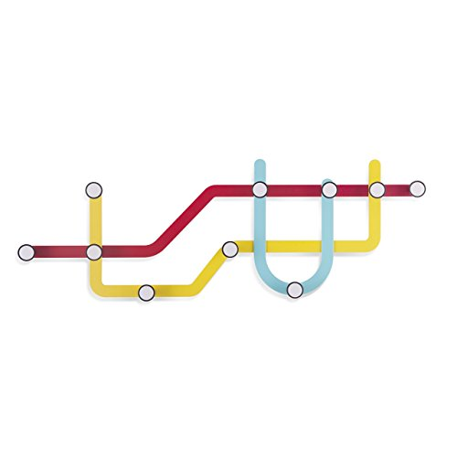 (Umbra Subway Wall Hook - Multicolored Modern Public Transit Maps Shape Coated Steel 10-Hooks Wall Hanger - Easy To Mount, Perfect for Scarves, Coats in Entryway - Each Hook Holds Up to 5 lbs)
