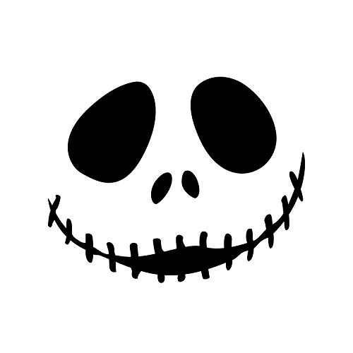 Vinyl Wall Art Decal - Jack Skellington Inspired Face - 17 x 22 - Fun Halloween Seasonal Decoration Sticker - Nightmare Before Christmas Indoor Outdoor Wall Door Window Living Room Office Decor