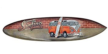Interlifestyle Tabla de Surf Aus Madera Dura 100cm con VW Bus como Decoración Tabla de Surf
