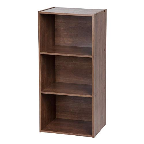 IRIS USA, Inc. 596080 TSB-DB 3-Tier Basic Wood Bookcase Storage Shelf, Dark Brown