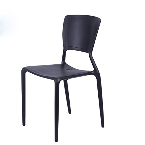 (LBYMYB Backrest Chair Cafeteria Stool Conference Table and Chair Thickened Plastic Chair 50.5x84cm Chair (Color : Black))
