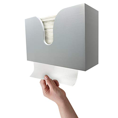 Essentially Yours Bamboo Paper Towel Dispenser, Paper Towel Holder Wall Mount & Countertop for Kitchen and Restroom Decor - Holds Multifold Paper Towel, C Fold, Z Fold, Trifold Hand Tissue Napkins.