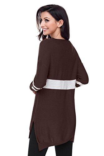 Alla Lungo Moda Di lkyiqi collo 4 Lunghe Camicia Maniche Maglia Lunga V A Colori Banda Donna Da An Brown Manica dY70xz7q