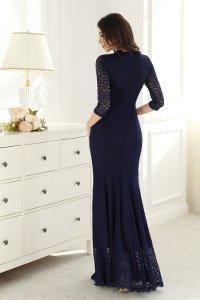 Floral Bridesmaid Dress Navy Lace Long Neck V Miusol Retro Blue Women's Wedding xwIqqBFT