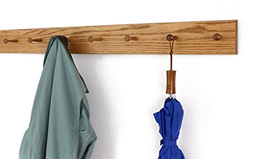 Solid Oak Shaker Peg Rack 4.5 Inch Wide 23 to 59 Inches Long With 3 to 10 Pegs - 100% Made in the USA